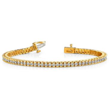 14K Yellow Gold Diamond Round Brilliant Channel Set Tennis Bracelet (2.98ctw.)