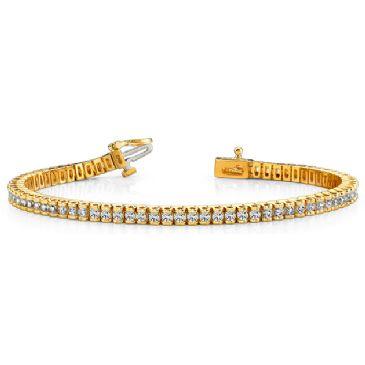 14K Yellow Gold Diamond Round Brilliant Channel Set Tennis Bracelet (2.98ctw.)