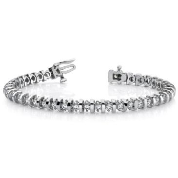 14K White Gold Diamond Round Brilliant Prong Set Tennis Bracelet (4.0ctw.)