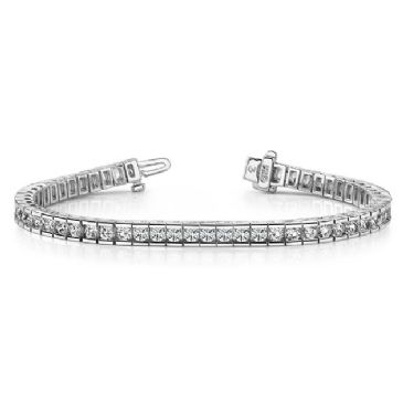 14K White Gold Diamond Round Brilliant Channel Tennis Bracelet (5.6ctw.)