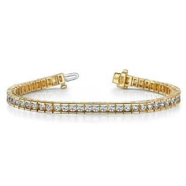 14K Yellow Gold Diamond Round Brilliant Channel Tennis Bracelet (5.6ctw.)