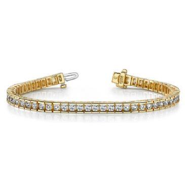 14K Yellow Gold Diamond Round Brilliant Channel Tennis Bracelet (5.6ctw.)
