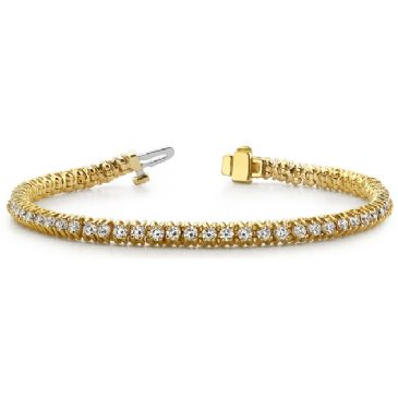18K Yellow Gold Diamond Round Brilliant 4 Prong Tennis Bracelet (4.13ctw.)