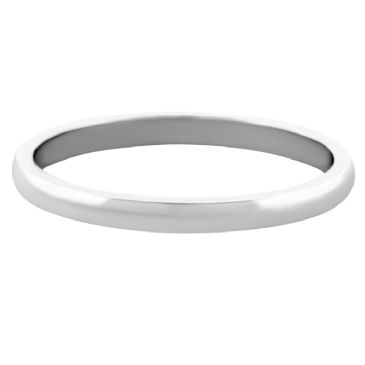 14k White Gold 2mm Dome Wedding Band Medium Weight