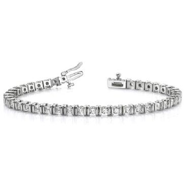 14K White Gold Diamond Round Brilliant Channel Set Tennis Bracelet (3.9ctw.)