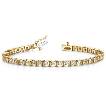 14K Yellow Gold Diamond Round Brilliant Channel Set Tennis Bracelet (3.9ctw.)