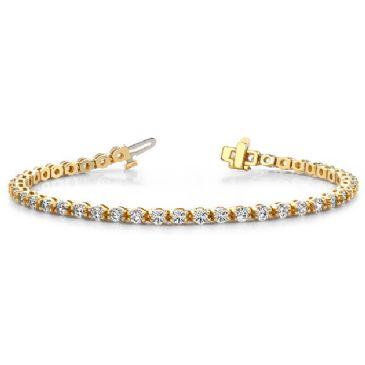 14K Yellow Gold Diamond Round Brilliant Prong Set Tennis Bracelet (4.95ctw.)