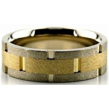 950 Platinum & 18K Gold 8mm Handmade Wedding Band Link Design 014