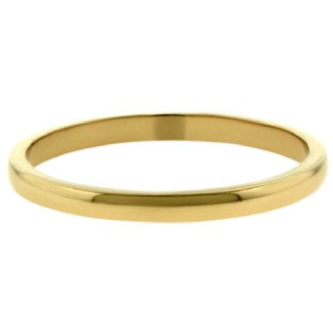18k Yellow Gold 2mm Dome Wedding Band Medium Weight