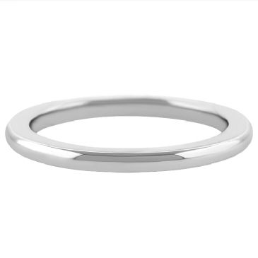 18k White Gold 2mm Comfort Fit Dome Wedding Band Super Heavy Weight