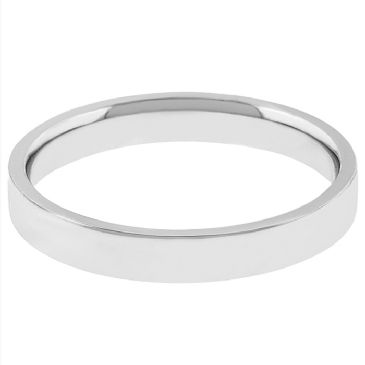 14k White Gold 2mm Flat Wedding Band Medium Weight