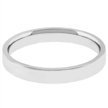 14k White Gold 2mm Flat Wedding Band Medium Weight