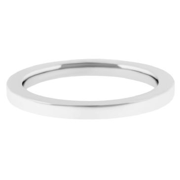 14k White Gold 2mm Comfort Fit Flat Wedding Band Super Heavy Weight