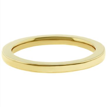 14k Yellow Gold 2mm Comfort Fit Flat Wedding Band Super Heavy Weight