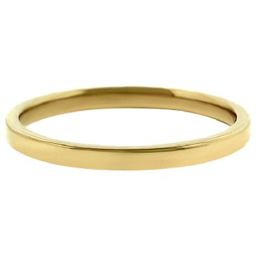 18k Yellow Gold 2mm Flat Wedding Band Medium Weight