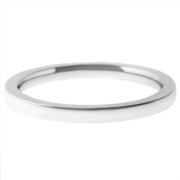 18k White Gold 2mm Flat Wedding Band Heavy Weight