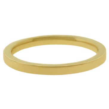 18k Yellow Gold 2mm Flat Wedding Band Heavy Weight