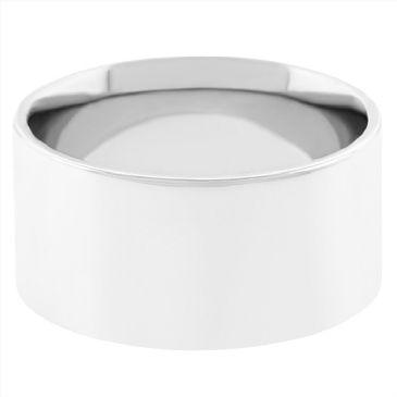 18k White Gold 9mm Flat Wedding Band Medium Weight