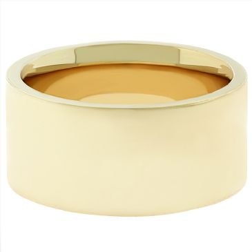 14k Yellow Gold 9mm Comfort Fit Flat Wedding Band Heavy Weight