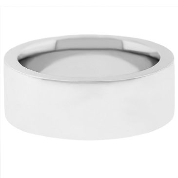 14k White Gold 9mm Comfort Fit Flat Wedding Band Super Heavy Weight