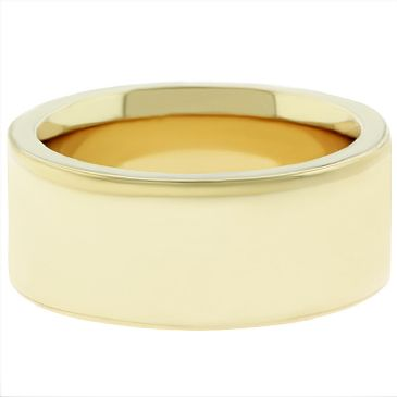 14k Yellow Gold 9mm Comfort Fit Flat Wedding Band Super Heavy Weight