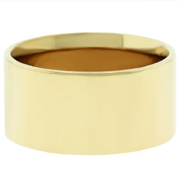 14k Yellow Gold 10mm Flat Wedding Band Medium Weight