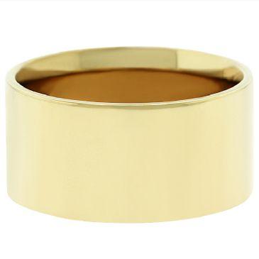 14k Yellow Gold 10mm Flat Wedding Band Medium Weight