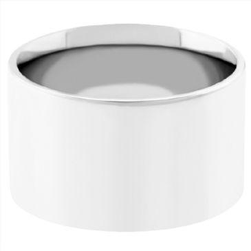 18k White Gold 10mm Flat Wedding Band Medium Weight