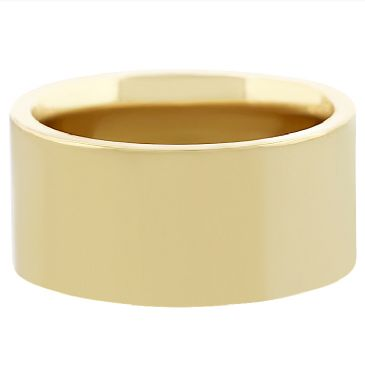 14k Yellow Gold 10mm Comfort Fit Flat Wedding Band Heavy Weight