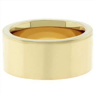 18k Yellow Gold 10mm Flat Wedding Band Super Heavy Weight