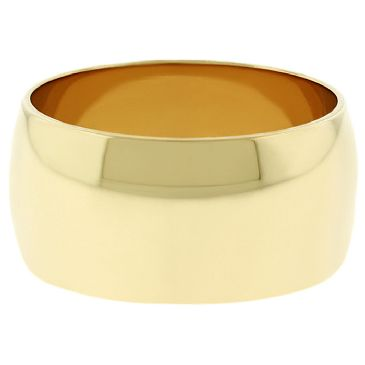18k Yellow Gold 10mm Dome Wedding Band Medium Weight