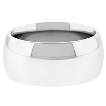 18k White Gold 10mm Comfort Fit Dome Wedding Band Super Heavy Weight