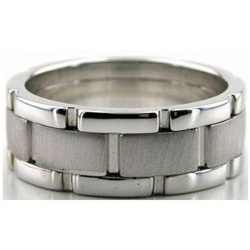 950 Platinum 8mm Handmade Wedding Band Link Design 011
