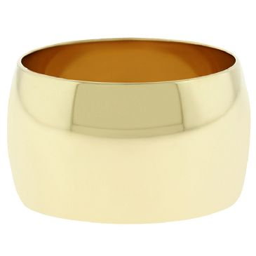 14k Yellow Gold 12mm Dome Wedding Band Medium Weight