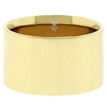 14k Yellow Gold 12mm Flat Wedding Band Medium Weight