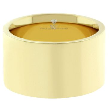 14k Yellow Gold 12mm Comfort Fit Flat Wedding Band Heavy Weight