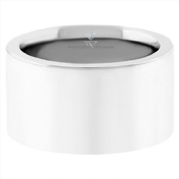 Platinum 950 12mm Flat Wedding Band Super Heavy Weight