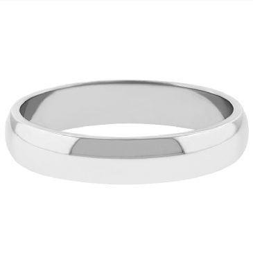 14k White Gold 4mm Dome Wedding Band Medium Weight
