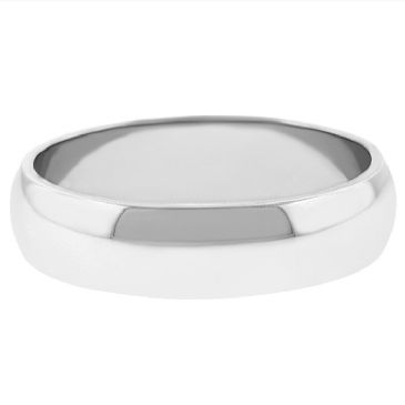 14k White Gold 5mm Dome Wedding Band Medium Weight
