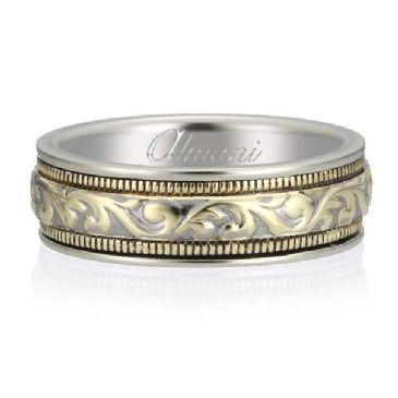 14K Gold 6.5mm Two Tone Almani Antique Wedding Band Interlock Design