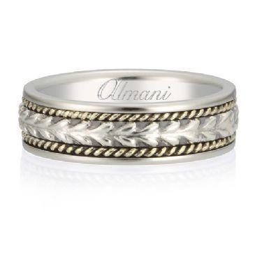 14K Gold 6.5mm Almani Antique Wedding Band Arrowhead Design White Gold