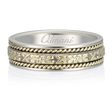 14K Gold 6mm Two Tone Almani Antique Wedding Band X and Bow Design