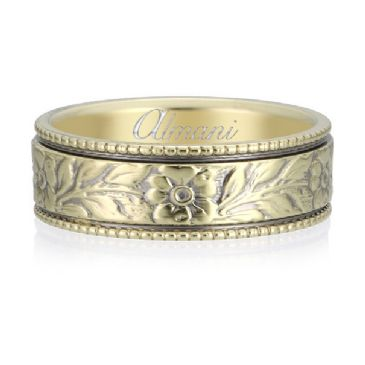 14K Yellow Gold 6.5mm Almani Antique Wedding Band Leaf Petal Design