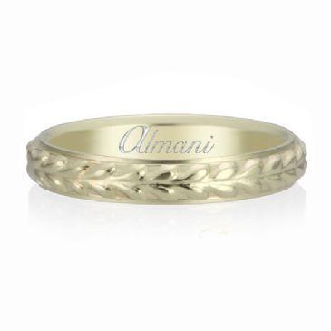 14K Yellow Gold 3mm Almani Antique Wedding Band Bolt Design
