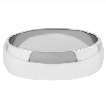 14k White Gold 6mm Dome Wedding Band Medium Weight