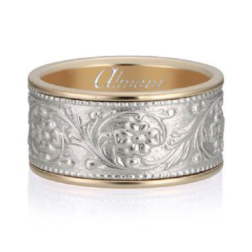 18K Gold 12mm Two Tone Almani Antique Wedding Band Floral Design
