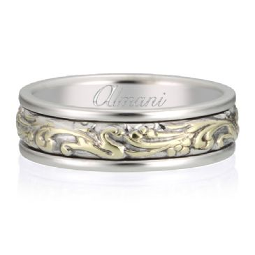 18K Gold 7mm Two Tone Almani Antique Wedding Band Floral Vine Design