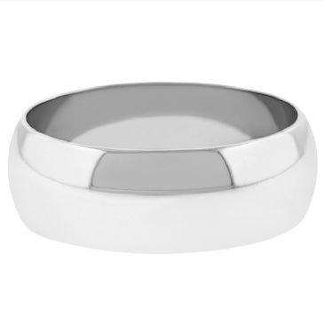 14k White Gold 7mm Dome Wedding Band Medium Weight