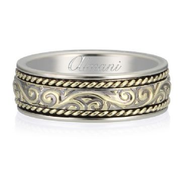 18K Gold 7mm Two Tone Almani Antique Wedding Band Intertwine Design