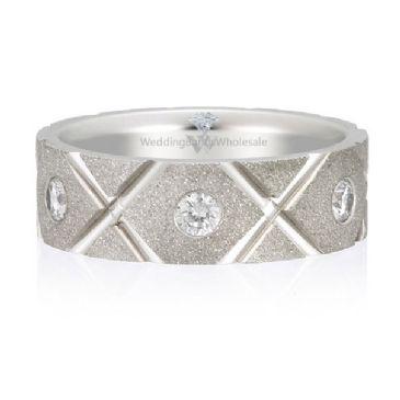 14K Gold 7mm Diamond Wedding Bands Rings Tic Tac Toe 0.77ctw.